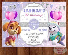 PAW PATROL Girl Birthday Party Invitation by GeometricDecorShop