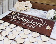 Custom 3D Wedding guest book alternative wood hearts Rustic
