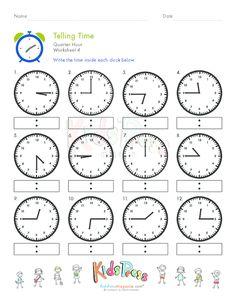 Telling Time Quarter Hour Worksheet #4 - #firstgrade #homeschooling #math #lessons