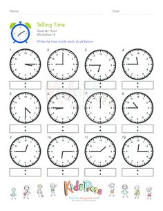 Telling Time To Quarter Hour Free Worksheets - telling time to ...