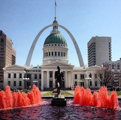 St. Louis fountains dyed red in honor of the Cardinals' opening home game.