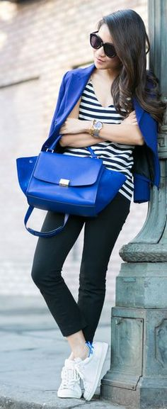 Indi Blue Blazer And Tote Outfit Idea by Wendy's Lookbook
