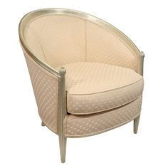 French 1950's Silvered Frame Club Chair, Attributed to Dominique  France  1950's  Fantastic silver leafed framed club chair with Ruhlman style reeded front legs, upholstered in a heavy silk fabric.