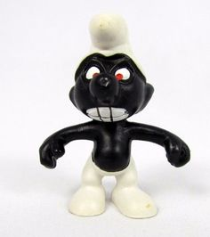 Vtg Smurfs Peyo ANGRY Black Smurf 20007 Schleich Portugal PVC Figure Schtroumpfs #Schleich