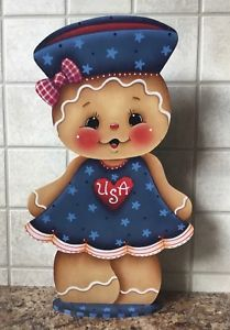 HP Hand Painted Gingerbread With Rolling Pin Shelf Sitter Gingerbread Crafts, Gingerbread Man, Wooden Projects, Wood Crafts, Pallet Projects, Tatty Teddy, Teddy Bear, Ginger Babies, Pintura Country