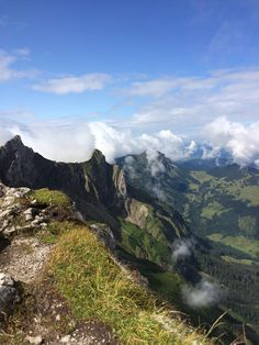View from the top of Mount Pilatus, Switzerland. Took a gondola to the top and the world's steepest cogwheel down.