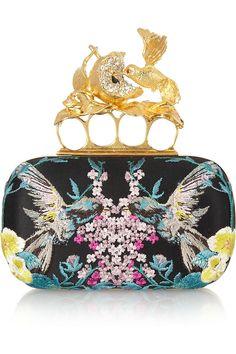 Alexander McQueen- Knuckle embroidered satin box clutch