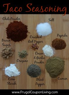 Homemade Taco Seasoning Mix Recipe - Budget-Friendly Pantry Ingredients found in your home. REicpe on Frugla Coupon Living. #recipe #taco #seasoning #homemade