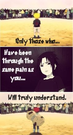 I think Naruto had it worse than Sasuke but I'm not too sure about Gaara. I mean, they all had a rough childhood but Sasuke had the village that loved him and Gaara had his siblings but Naruto. Anime Naruto, Naruto Uzumaki, Naruto Comic, Naruto Funny, Sad Anime, Naruto And Sasuke, I Love Anime, Manga Anime, Naruto Facts