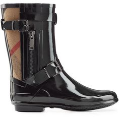Burberry Shoes & Accessories Patent Rain Boots ($250) ❤ liked on Polyvore featuring shoes, boots, rubber boots, rain boots, shiny black boots, round toe boots and black patent leather shoes