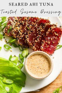 Ahi Tuna Sauce, Ahi Tuna Steak Recipe, Seared Ahi Tuna Recipe, Ahi Tuna Poke, Tuna Steak Recipes, Fish Recipes, Seafood Recipes, Cooking Recipes, Ahi Tuna Sandwich Recipe