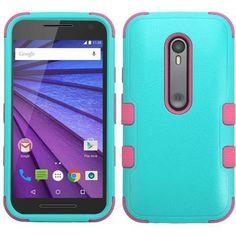 MYBAT TUFF Hybrid Motorola Moto G 3rd Gen Case - Teal Green/Pink