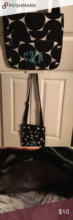 """Make offer! Thirty One Crossbody BNWOT black white Make an offer!  Brand new without tags Thirty One Crossbody with adjustable strap. Canvas material with black and white large polka dots. Light blue embroidery of """"CRR"""". Never carried. Thirty One Bags Crossbody Bags"""