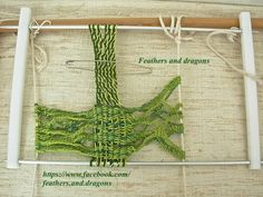 freeform sprang 2 in 1 - with weaving. This is the same sprang to which I added the crocheted garland of leaves and knitting later. Fiber Diet, Weekend Projects, Rug Hooking, Loom, Garland, Needlework, Textiles, Tapestry, Knitting