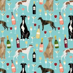 greyhounds and wine fabric - dogs and wine bubbly celebration fabric - light blue by petfriendly