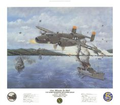 """One Minute in Hell by Steve Ferguson   Image size: 17"""" x 22""""  Overall print size: 22"""" X 25""""  On November 2, 1943, the Fifth Air Force launched a massive low-level attack by B-25s against harbor installations and shipping at the major Japanese fleet anchorage and base at Rabaul, New Britian. In the vanguard of the 71st Squadron's strike, 1/Lt. James A. Hungerpiller flying SLEEPY TIME GAL and 1/Lt. J. E. Orr can be seen... More at: https://irandpcorp.com/products/one-minute-in-hell/"""