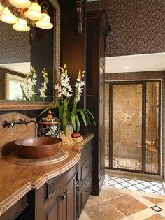 blue green mediterranean decor | Mediterranean Bathroom Design, Pictures, Remodel, Decor and bath