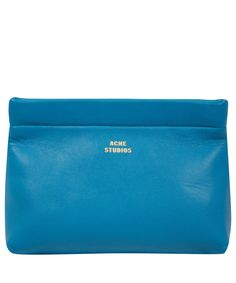 Acne Blue Leather Clutch Bag