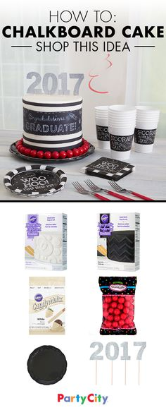 Celebrate your grad's hard work with an elegant (and surprisingly easy) chalkboard graduation cake. Stock up on black and white fondant, white food coloring, party picks and red candies to create a stylish cake your grad will love. Find everything you need at Party City.