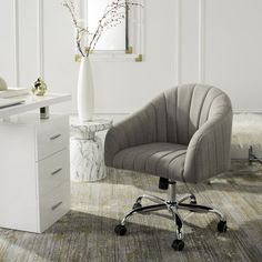 The office of a legendary Hollywood agent was the inspiration for this linen chrome leg swivel office chair. Sculpted with gentle curves, its grey upholstery brings instant glamour to the workplace. Designers love its sleek casters and swivel mechani High Back Office Chair, Swivel Office Chair, Contemporary Office Chairs, Modern Contemporary, Barrel Chair, Grey Chair, Living Room Chairs, Desk Chairs, Recliner Chairs