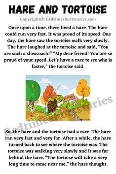 This is the Hare And Tortoise Story for kids. Full story in link above, read now. English Stories For Kids, Moral Stories For Kids, English Story, Hare & Tortoise, Short Moral Stories, English Rhymes, English Grammar Worksheets, Phonics Reading, Bedtime Stories