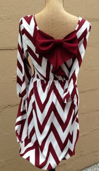 Crimson/White Chevron Bow Back Dress | Stella Rae's {limited quantities available}