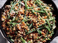 Skillet Green Bean Casserole - Vegetable Recipes for Thanksgiving - Cooking Light Healthy Green Beans, Healthy Green Bean Casserole, Vegetable Casserole, Greenbean Casserole Recipe, Casserole Recipes, Thanksgiving Side Dishes, Thanksgiving Recipes, Vegetarian Thanksgiving, Christmas Recipes