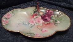 Guerin Limoges Tray Split Center Flower Handle, Roses, Circa 1900 - 1932, Signed #Guerin