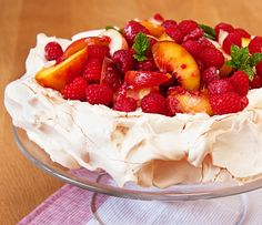 Mascarpone and Peach Pavlova - The perfect summer pudding, this can be made a day in advance and assembled just before serving.