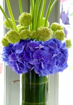 Floral Arrangement ~blue/purple, green