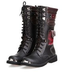 Red/Black Pocketed Punk Gothic Army Boots