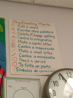 Bilingual Proofreading marks anchor chart #posterideas