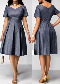 Denim Short Sleeve Knee Length Fit and Flare Dress