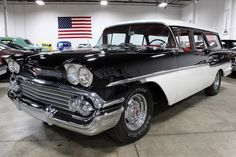 The GR Auto Gallery is pleased to present this 1958 Chevrolet Yeoman Station Wagon for purchase. The Yeoman was a Station Wagon produced by Chevrolet for. Station Wagons For Sale, Station Wagon Cars, Car Chevrolet, Classic Chevrolet, Vintage Cars, Antique Cars, 1958 Chevy Impala, Chevy Nomad, Cool Old Cars