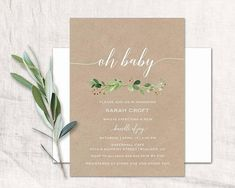 Greenery kraft baby shower invitations featuring a watercolor greenery branch and leaves which you can order to print on your own or we can print them for you. • • • • • DETAILS • • • • • This listing is for customized printable invitation in digital high resolution 300 dpi PDF or