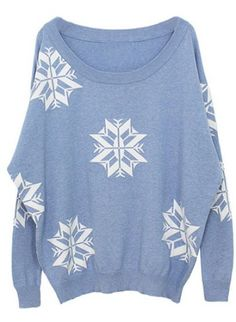 Blue Batwing Sleeve Snowflake Pattern Loose Sweater - Sheinside.com