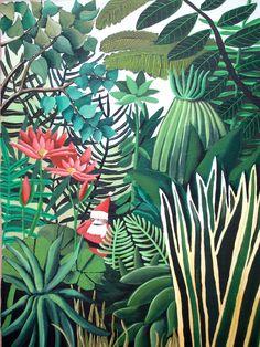Mural inspiration: Henri Rousseau / via Lejardindeclaire Henri Rousseau, Botanical Art, Botanical Illustration, Illustration Art, Art Tropical, Tropical Flowers, Master Thesis, Jungle Art, Art Brut
