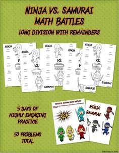 Have you ever wanted to hear your class cheer about doing math? Now's your chance! This unique approach to having kids practice an important math skill will have your kids looking forward to practicing!  The tournament features 5 separate Math Battles, with 10 problems per battle. At the end of the tournament, one of the sides will have won 3 battles and will be declared the victor! But not until your kids have completed all 50 problems!  Perfect for Math Centers or as an assessment! Fifth Grade Math, Sixth Grade, Fourth Grade, Second Grade, Fun Math Activities, Math Games For Kids, Math Resources, Math Classroom, Kindergarten Math