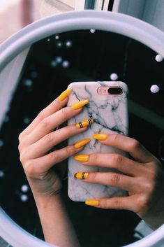 Acrylic Nails : Yellow nail arts design ideas Yellow nail arts design ideas Sharing is caring, don't forget to share ! Yellow Nails Design, Yellow Nail Art, Acrylic Nails Yellow, Best Acrylic Nails, Acrylic Nail Designs, Aycrlic Nails, Cute Nails, Coffin Nails, Fail Nails