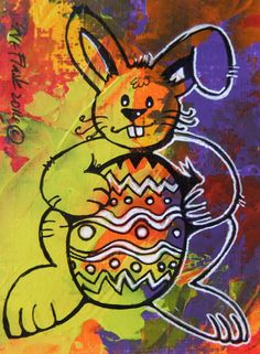 ACEO TW APR 2014 New Original Painting Miniature - Easter Bunny by Sue Flask