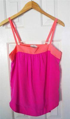 ANTHROPOLOGIE HD IN PARIS sz 8 HEAT INDEX pink orange colorblock silk tank cami #Anthropologie #HotPink  $27