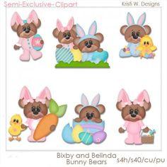 DIGITAL SCRAPBOOKING CLIPART Bixby & Belinda Bunny by BoxerScraps