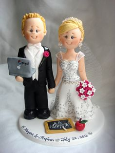 IT Personnel Groom & Teacher wedding cake topper by ALittleRelic