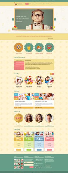 Children template designed towards daycare, preschool, art school, baby  kids products online shop and it would suit for any children, art, craft or creative small business websites.  Easy to Customize layered PSD files for Children's Clothing Website with all Shopping Cart Page Designs included.