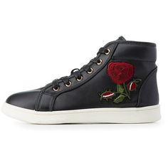 Bamboo Rose Embroidered High-Top Sneakers (€17) ❤ liked on Polyvore featuring shoes, sneakers, black, black trainers, rose shoes, black hi top sneakers, black hi tops and black high top shoes
