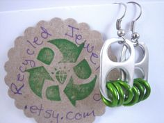 Lime Green Soda Pop Tab Earrings Donation made by recycledjewelry