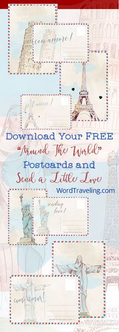 Free Printable Postcards from Around the World - Word Traveling - to send to Volunteers - so glad you'll be making the trip with me! Around The World Theme, Around The World In 80 Days, We Are The World, Around The Worlds, School Themes, Classroom Themes, Printable Postcards, Printable Vintage, World Bulletin Board