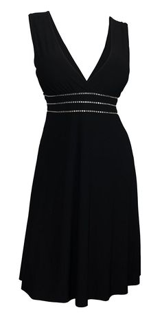 eVogues Plus Size Sexy Black Rhinestone Low Cut V-Neck Cocktail Dress >>> For more information, visit now : Plus size dresses