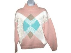Vintage 80's Sweater - Slouchy Pastel Argyle Sweater by Spice of Life - Women's Size Large Sweater