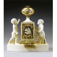 Vulliamy . A rare ormolu, marble, bisque and jasperware mantel timepiece, London, case circa 1805, movement circa 1825 the fusee and chain movement signed Vulliamy, London, 796, with rectangular plates, anchor escapement and rise and fall regulation, a vertical driving rod leading to an armillary sphere with an enamel chapter ring forming the equator and indicating the time against the meridian ring, the eliptic engraved with the signs of the zodiac, a gilt Earth sphere